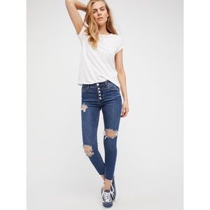 NWOT Free People Destroyed Reagan Button Fly Jean